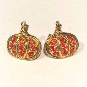 Vintage Avon Orange Pumpkin Stud Earrings